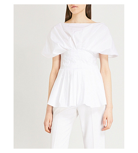 ROSETTA GETTY Pleated-detail cotton top (White