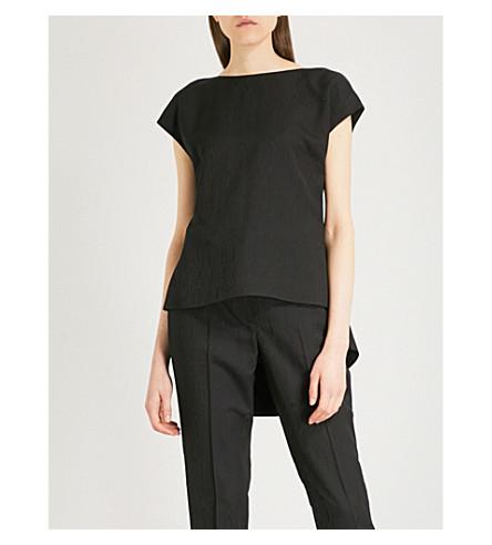 ROSETTA GETTY Pleated-back woven top (Black