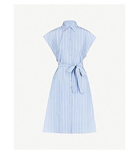 ROSETTA GETTY Cape-back striped woven dress (Blue