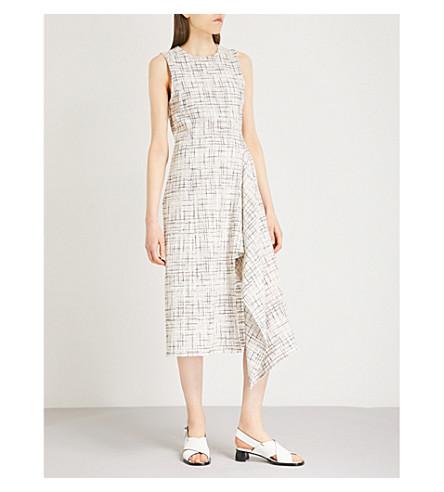 ROSETTA GETTY Asymmetric-hem cotton and wool-blend dress (Multi