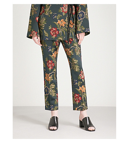 ROSETTA GETTY Floral jacquard trousers (Multi