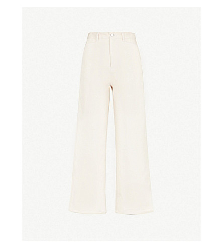 ROSETTA GETTY High-rise wide cropped jeans (Natural