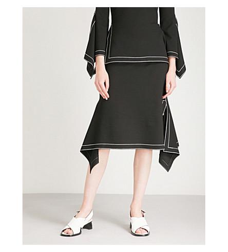 ROSETTA GETTY Handkerchief stretch-woven midi skirt (Black
