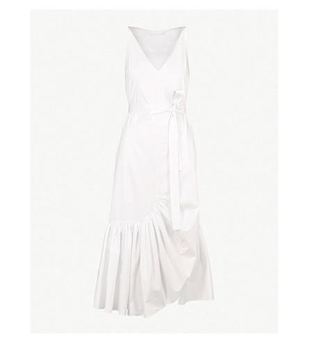 被竖起的棉花 midi 礼服 (白色