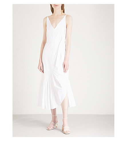 ROSETTA GETTY Ruffled cotton midi dress (White