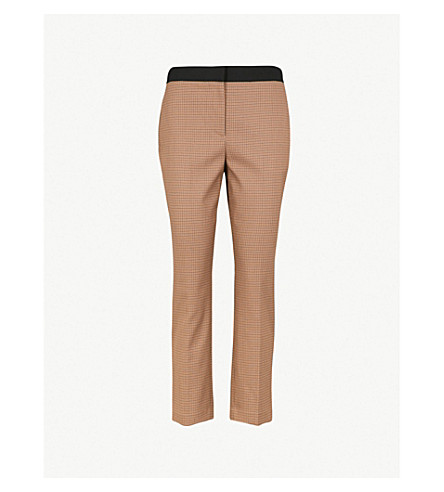 ROSETTA GETTY Checked high-rise woven trousers (Tobacco navy