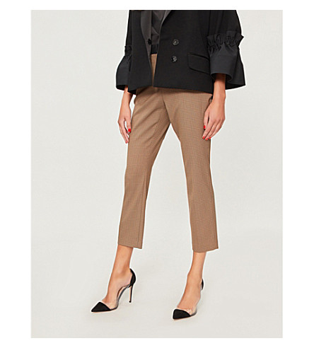 ROSETTA GETTY Checked high-rise woven trousers (Tobacco+navy