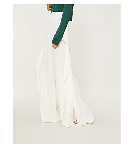 ROSETTA GETTY Ruffle-trim crepe trousers (Ivory