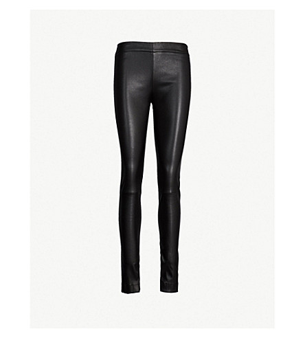THE ROW Moto high-rise leather skinny trousers (Black