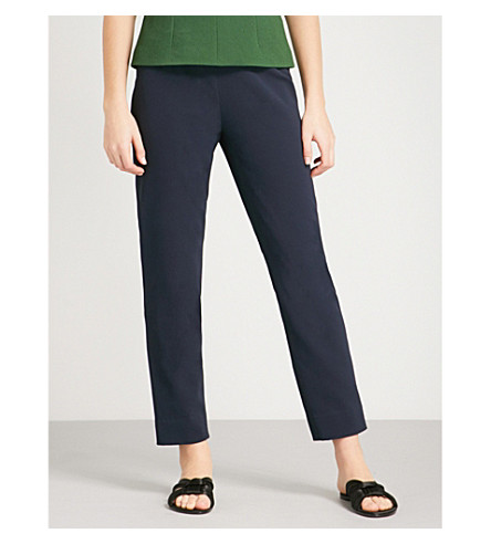 EMILIA WICKSTEAD Arabella straight crepe trousers (Navy