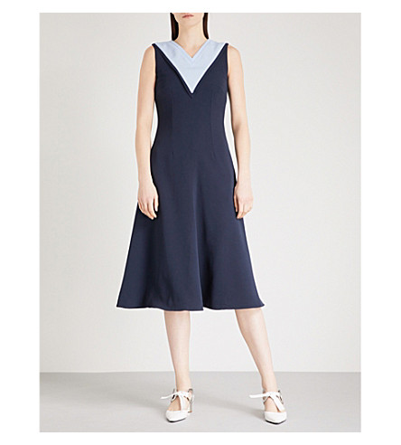 EMILIA WICKSTEAD Arelene fit-and-flare crepe dress (Navy