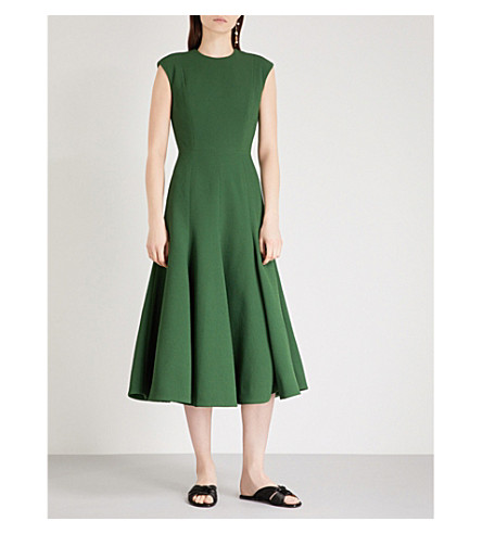 EMILIA WICKSTEAD Denver fit-and-flare crepe dress (Dark+green