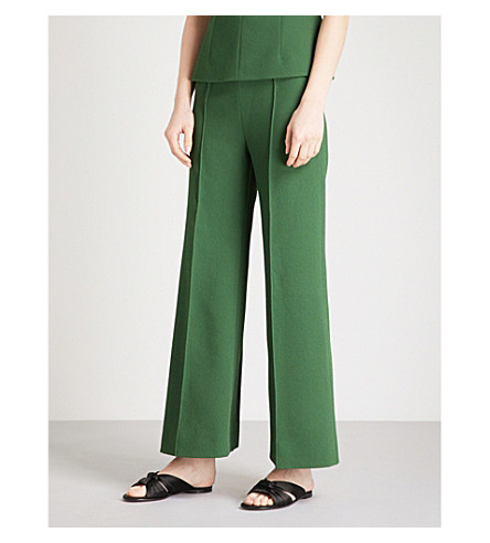 EMILIA WICKSTEAD Hullinie straight crepe trousers (Dark+green
