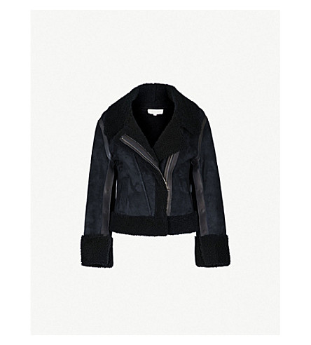 ARJE Cass Curly shearling jacket (Antique+indigo