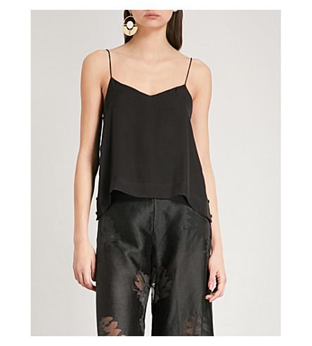 ARJE Skye silk strappy top (Black