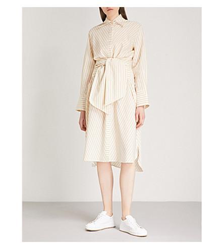 ARJE Lina striped woven-silk shirt dress (Parchment+gold