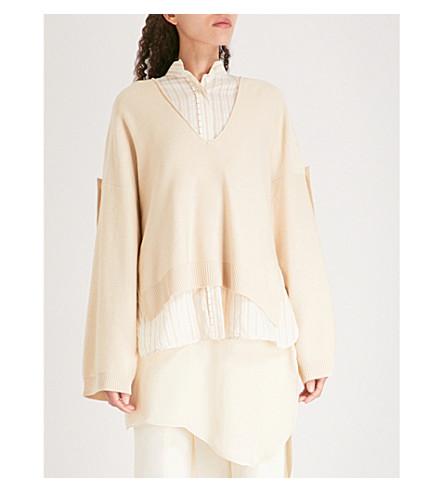 ARJE Milos V-neck oversized virgin wool-blend jumper (Parchment