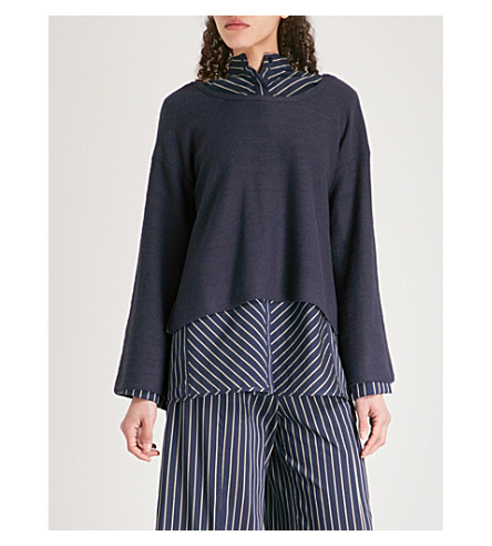 ARJE Milos oversized wool, silk and cashmere-blend jumper (Midnight