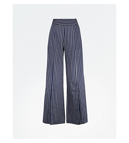 ARJE Cori striped wide-leg high-rise woven trousers (Midnight+gold