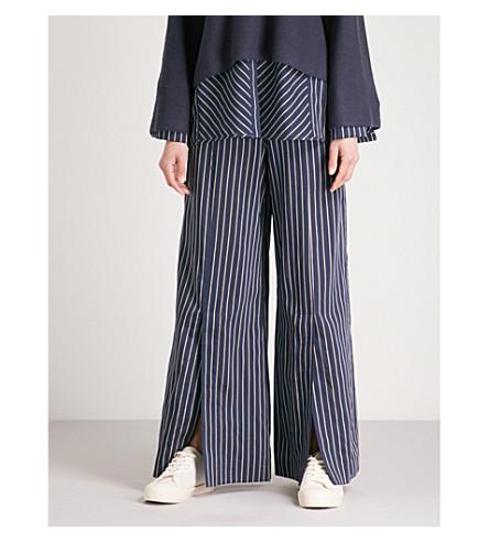ARJE Cori striped wide-leg high-rise woven trousers (Midnight+gold