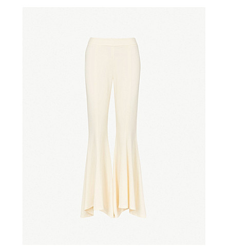 ARJE Tess flared high-rise slim-fit crepe trousers (Ivory