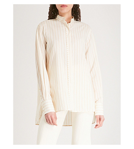ARJE Striped woven shirt (Parchment+gold