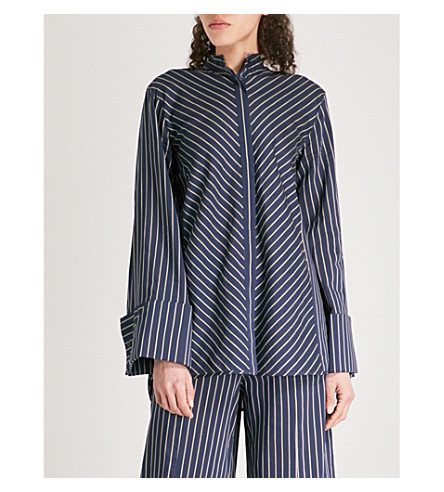 ARJE Sasha striped woven shirt (Midnight+gold