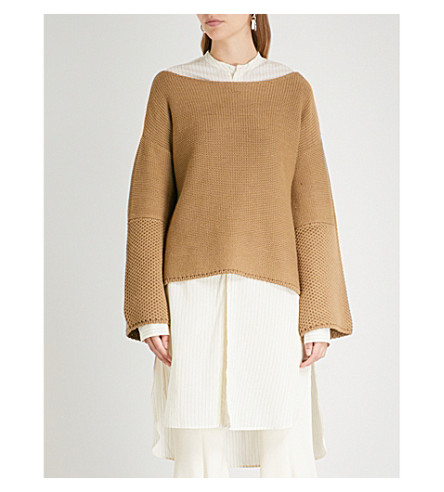 ARJE Formentera wool and linen-blend jumper (Tan