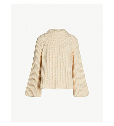 ARJE Steph high-neck chunky-knit wool, silk and cashmere-blend jumper (Vanilla