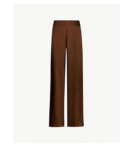 ARJE Naia wide-leg slit detail satin trousers (Chocolate
