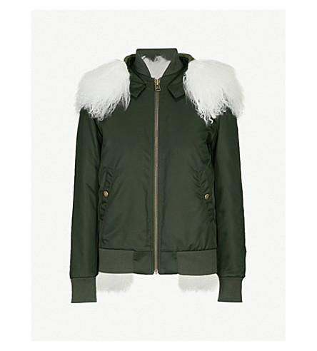 MR & MRS ITALY Hooded shearling-lined shell bomber jacket (Green+white