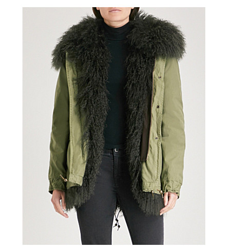 MR & MRS ITALY Hooded shearling-lined cotton parka jacket (Army