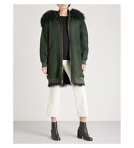 MR & MRS ITALY Hooded shearling-lined shell bomber jacket (Green+black