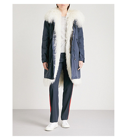 MR & MRS ITALY Hooded shearling-lined cotton parka jacket (White