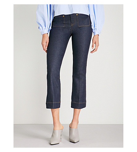 KHAITE Raquel cropped flared mid-rise jeans (Raw