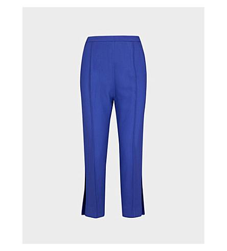 KHAITE Bridget straight high-rise woven trousers (Cobalt