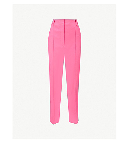 KHAITE Kyle straight high-rise woven trousers (Bright+pink