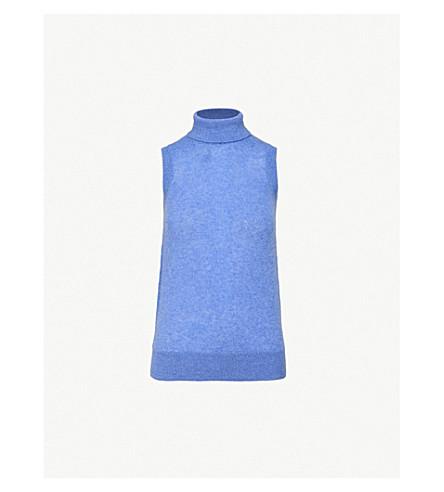 KHAITE Tabitha sleeveless cashmere turtleneck jumper (Sky+blue