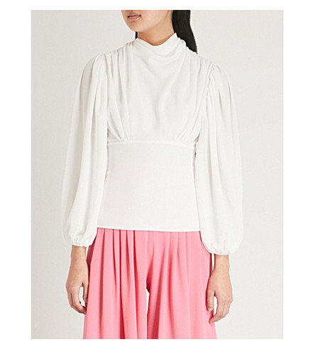 EMILIA WICKSTEAD Ronan draped crepe blouse (White
