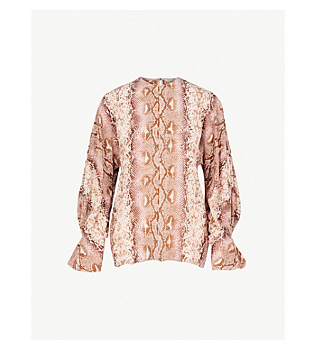 EMILIA WICKSTEAD Dalia python-print silk shirt (Pink+python