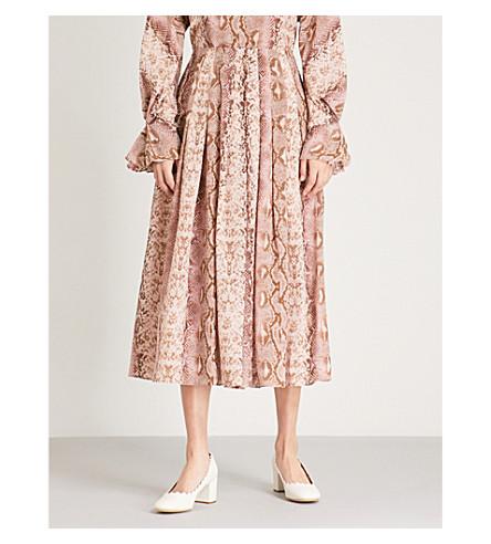 EMILIA WICKSTEAD打印真丝裙 (粉红色 + python