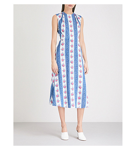 EMILIA WICKSTEAD Dolora floral-pattern crepe midi dress (Floral+stripe