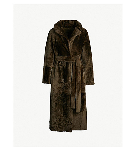 YVES SALOMON Belted shearling coat (Herbal+tea