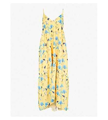 BORGO DE 和安妮花卉印花绉 midi 连衣裙 (黄色
