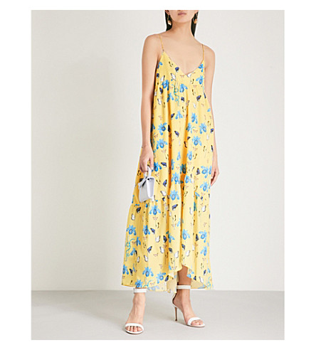 BORGO DE NOR Anais floral-print crepe midi dress (Yellow