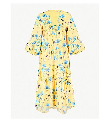 BORGO DE NOR Iris printed crepe midi dress (Yellow