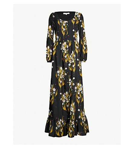 BORGO DE NOR Mina crepe maxi dress (Wheat black