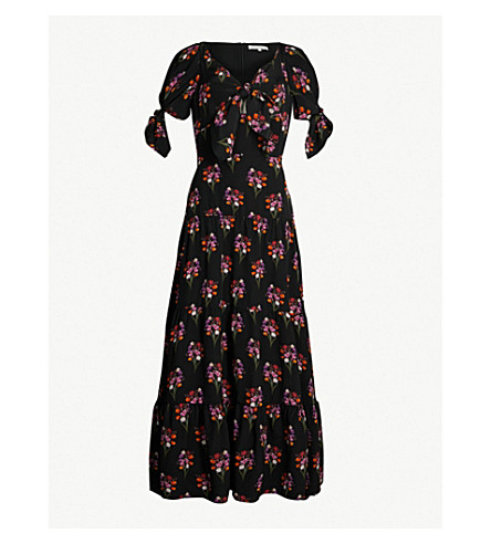 BORGO DE NOR Ophelia silk-twill dress (Bouquet black