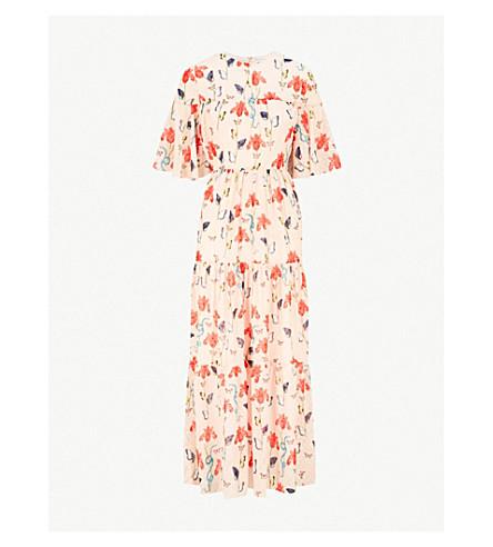 BORGO DE NOR Serena printed crepe midi dress (Blush