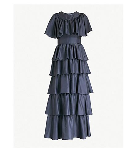 DEITAS Eva 分层丝绸缎纹连衣裙 (蓝色